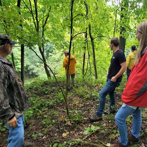 Students surveying in the woods