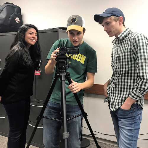Students test video equipment in the IDEAL lab