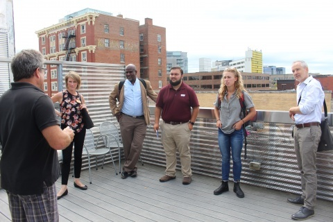Planning Students tour Downtown Iowa City